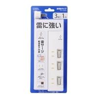 オーム電機 雷ガード/個別スイッチ付き 節電タップ 3個口 1m 00-1397