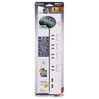 オーム電機 4個口2m節電タップPUSH+USB 白 00-2790