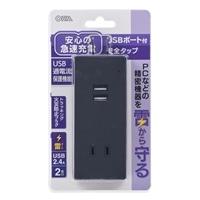 オーム電機 USBポート付安全タップ 雷ガード 2個口 黒 00-4398