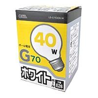 ミニボール電球40W形 ホワイト  LB‐G7640K‐W