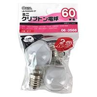 オーム電機 ミニクリプトン電球 E17 60形相当 ホワイト 2個入 LB-PS3554W-2P
