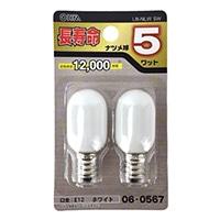オーム電機 長寿命ナツメ球 E12 5ワット ホワイト LB-NLW 5W