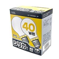 白熱電球 E26 40W ホワイト 2個入 LB-D5638W-2P