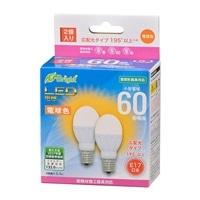 オーム電機 LED電球 小形 E17 60形相当 電球色 2個入 LDA6L-G-E17 IH22 06-4323