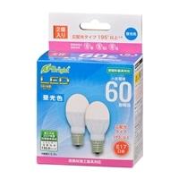 オーム電機 LED電球 小形 E17 60形相当 昼光色 2個入 LDA6D-G-E17 IH22 06-4324