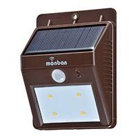 オーム電機 OHM LEDセンサー ウォールライト ソーラー式 ブラウン
