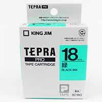 キングジム テプラ PRO テープ 18mm 緑 ブラックインク SC18G