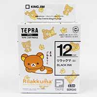 KJ テプラテープ リラックマ白/黒 12mm