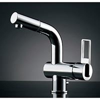 カクダイ シングルレバー混合栓 184-021K(引出シャワー・排水上部セット付)【寒冷地用】
