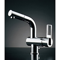 カクダイ シングルレバー混合栓 184-023(引出シャワー・排水上部セット付)【一般地用】
