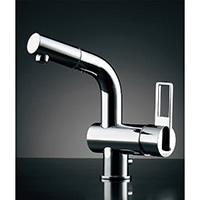 カクダイ シングルレバー混合栓 184-023K(引出シャワー・排水上部セット付)【寒冷地用】