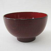木彫汁椀 紅溜