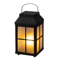ゆらぎソーラーフレイムランタンライト ブラック【別送品】