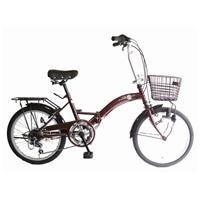 【ネット限定】【自転車】【全国配送】折りたたみ自転車 レトロDX 20インチ ブラウン【別送品】
