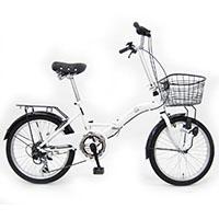 【ネット限定】【自転車】【全国配送】折りたたみ自転車 レトロDX 20インチ ホワイト【別送品】