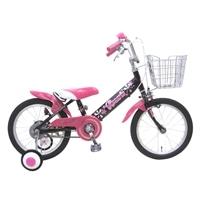 【ネット限定】【自転車】【全国配送】補助輪付き子供用自転車 ロサリオ 16インチ ブラックピンク【別送品】