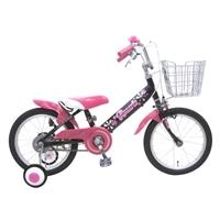 【ネット限定】【自転車】【全国配送】補助輪付き子供用自転車 ロサリオ 14インチ ブラックピンク【別送品】