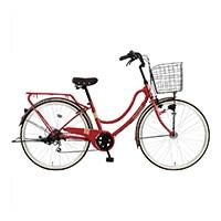 【自転車】《マルキン自転車》26型軽快車 フロートミックス 外装6段 レッド