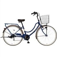 【自転車】《マルキン自転車》26型軽快車 フロートミックス 外装6段 ダークブルー