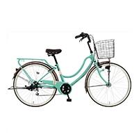 【自転車】《マルキン自転車》26型軽快車 フロートミックス 外装6段 ライトグリーン