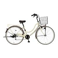 【自転車】《マルキン自転車》26型軽快車 フロートミックス 外装6段 ベージュ