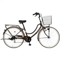【自転車】《マルキン自転車》26型軽快車 フロートミックス 外装6段 ダークブラウン