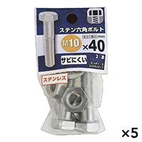 【ケース販売】ステン六角ボルト 10X40×5個[4979874460493×5]