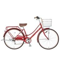 【自転車】【全国配送】《シナネン》軽快イーストボーイカジュアル外装6段オートライト 26インチ レッド【別送品】