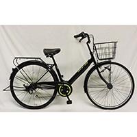 【自転車】【全国配送】軽快車 REFLET 外装6段LEDオートライト 27インチ ブラック/グリーン【別送品】