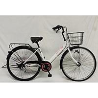 【自転車】【全国配送】軽快車 REFLET 外装6段LEDオートライト 27インチ ホワイト/ピンク【別送品】