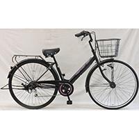 【自転車】《シナネンサイクル》軽快車 リフレ 27インチ 外装6段 オートライト2 ブラック/パープル