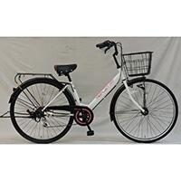 【自転車】《シナネンサイクル》軽快車 リフレ 27インチ 外装6段 オートライト2 ホワイト/ピンク