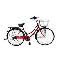 【自転車】《シナネンサイクル》FMC266BHD-CZ タウン26・6S プレストHD レッド