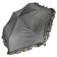 雨晴兼用 完全遮光 3段折傘 50cm フリル ブラック