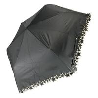 雨晴兼用 完全遮光 3段折傘 50cm トゥインクルスター ブラック