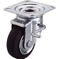 【CAINZ DASH】ユーエイ 産業用キャスターダブルS付自在車 100径ゴム車輪