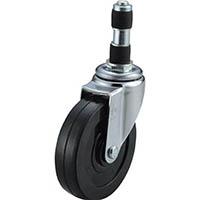 【CAINZ DASH】ユーエイ ゴムパイプ22径差込みキャスター自在車  100径ゴム車輪
