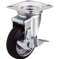 【CAINZ DASH】ユーエイ 産業用キャスターシングルS付自在車 100径ゴム車輪