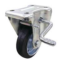 【CAINZ DASH】ユーエイ 産業用キャスターS付固定車 100径ゴム車輪