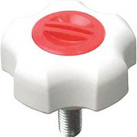 【CAINZ DASH】三星 フィットノブ M6 本体/白 キャップ/赤 (5個入り)