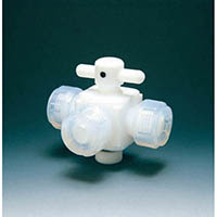 【CAINZ DASH】フロンケミカル フッ素樹脂(PTFE)三方バルブ接続8mm