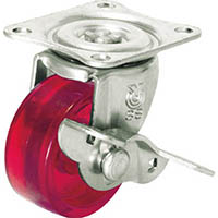 【CAINZ DASH】ユーエイ スケルトンキャスター自在車S付 38径ポリカーボネート車輪(赤)