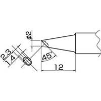 【CAINZ DASH】白光 こて先 2BC型 溝付 はんだメッキ 1mm