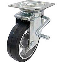 【CAINZ DASH】ユーエイ 新型プレスキャスター右S付自在車 200径アルミホイルゴム車輪