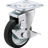 【CAINZ DASH】ユーエイ 産業用キャスターS付自在車 100径ゴム車輪