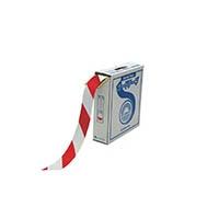 【CAINZ DASH】緑十字 ラインテープ(ガードテープ) 白/赤 50mm幅×100m 屋内用
