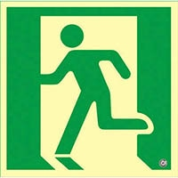 【CAINZ DASH】緑十字 高輝度蓄光避難誘導ステッカー標識 非常口 300×300mm 消防認定品