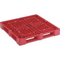 【CAINZ DASH】TRUSCO 樹脂パレット 片面4方差 1100X1100 赤