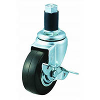 【CAINZ DASH】ユーエイ ゴムパイプ34径差し込み式キャスター自在S付 100径 ゴム車輪