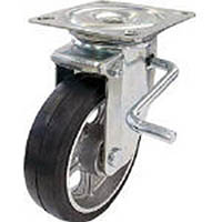 【CAINZ DASH】ユーエイ 産業用キャスター自在車ストッパー付 150径アルミホイルゴム車輪